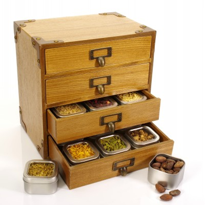 Wooden Spice Cabinet with 24 Herbs and Spices