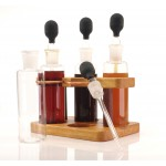 Birch and copper wooden bottle rack with extra large dropper bottles